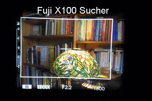 Blick durch den Sucher der Fuji X100